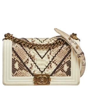 Chanel White/Brown Python and Leather Medium Boy Flap Bag