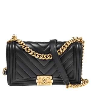 Chanel Black Chevron Leather Medium Boy Flap Bag