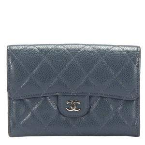 Chanel Blue Caviar Leather Small Wallet