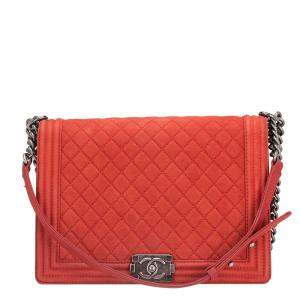 Chanel Red Lambskin Leather Boy Large Flap Bag