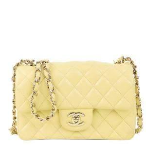 Chanel Yellow Classic Lambskin Leather Rectangular Mini Flap Bag