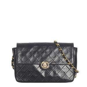 Chanel Black Lambskin Leather Flap Crossbody Bag