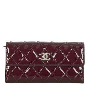 Chanel Burgundy Patent Leather Interlocking CC Logo Continental  Wallet