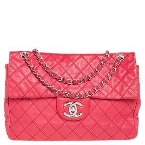 Chanel Red Quilted Caviar Leather Maxi Classic Single Flap Bag