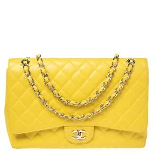 Chanel Yellow Quilted Caviar Leather Maxi Classic Single Flap Bag