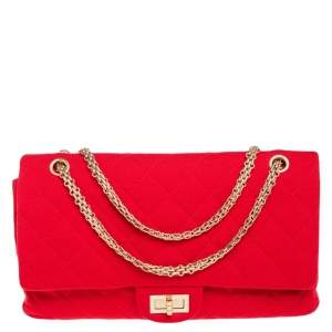 Chanel Red Quilted Jersey Reissue 227 Flap Bag