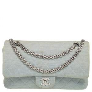 Chanel Light Blue Quilted Jersey Medium Classic Double Flap Bag