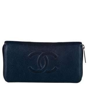 Chanel Blue Zip Around Leather CC Around Wallet