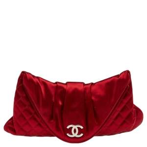 Chanel Red Quilted Satin Half Moon Clutch