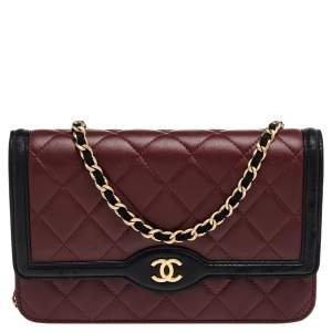Chanel Burgundy/Black Quilted Leather Wallet On Chain