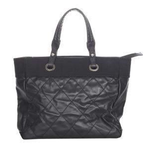 Chanel Black Leather Paris Biarritz Tote Bag
