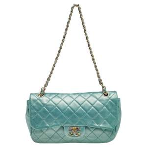 Chanel Metallic Green Quilted Leather Crystal CC Single Flap Shoulder Bag