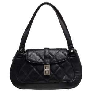 Chanel Black Leather Mademoiselle Lock Satchel