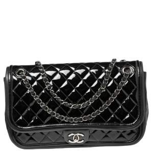 Chanel Black Quilted Patent Leather and Leather Classic Twist Flap Bag