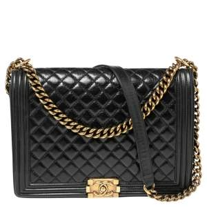 Chanel Black Quilted Crinkled Leather Large Boy Bag