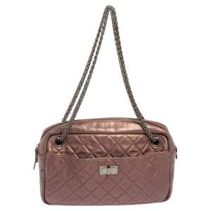 Chanel Metallic Rose Fonce Quilted Crinkled Leather Reissue Camera Bag