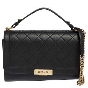 Chanel Black Leather Large Label Click Flap Bag