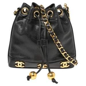 Chanel Black Caviar Leather Vintage CC Drawstring Bucket Bag