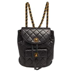 Chanel Black Quilted Leather Vintage Drawstring Backpack