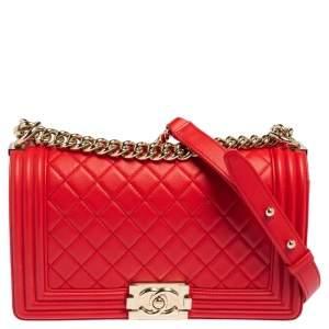 حقيبة شانيل بوي جلد مبطن أحمر متوسطة بقلاب
