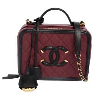 Chanel Maroon/Black Quilted Caviar Leather Medium CC Filigree Vanity Case Bag