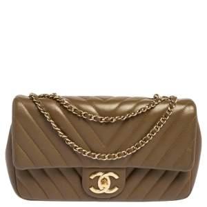 Chanel Brown Chevron Leather Small CC Single Flap Bag