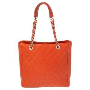 حقيبة يد توتس شانيل  فيرتيكال غراند شوبر جلد كافيار برتقالي محروق