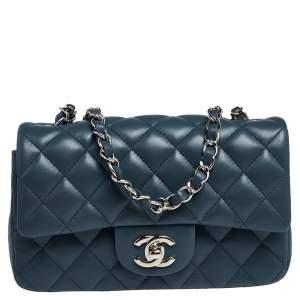حقيبة شانيل ميني كلاسيك جلد أزرق مستطيلة بقلاب