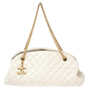 Chanel White Quilted Leather Just Mademoiselle Bowling Bag