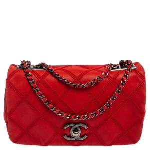 Chanel Red Quilted Nubuck Leather Small Diamond Crochet Stitch Flap Bag