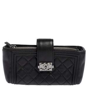 Chanel Black Quilted Leather Boy Phone Pouch