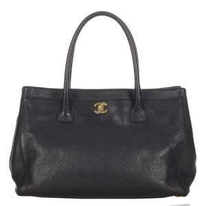 Chanel Black Caviar Leather Executive Cerf Satchel Bag
