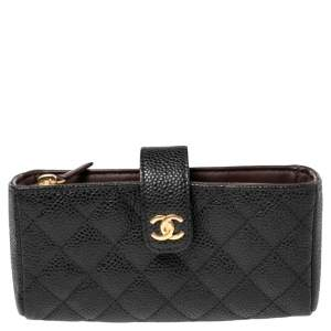 Chanel Black Quilted Caviar Leather CC Phone Pouch