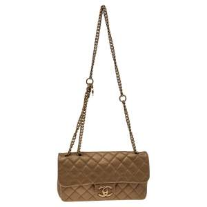 Chanel Metallic Gold Quilted Leather Zip Back Pocket Flap Bag