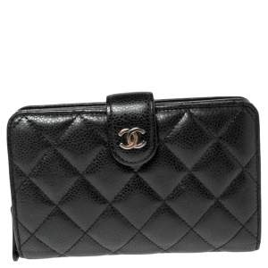 Chanel Black Quilted Caviar Leather L-Zip Pocket Wallet