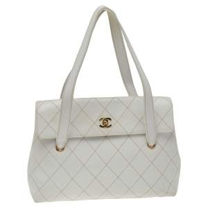 Chanel White Quilted Leather Wild Stitch Flap Shoulder Bag