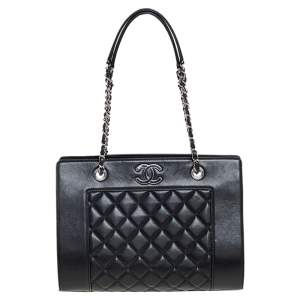 Chanel Black Quilted Leather Mademoiselle Vintage Shopping Tote