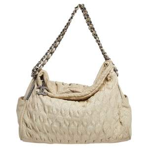 Chanel Cream Perforated Pleated Leather Chain Shoulder Bag