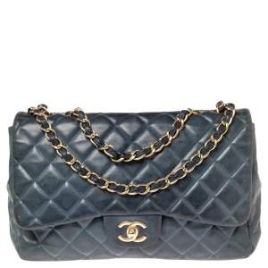 Chanel Blue Quilted Lambskin Leather Jumbo Classic Single Flap Bag