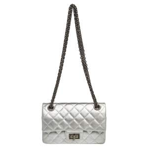 Chanel Silver Quilted Leather Reissue 2.55 Classic 224 Flap Bag