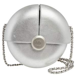 Chanel Silver Leather Evening in the Air Bag