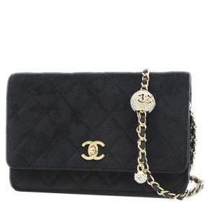 Chanel Black Velvet Champagne Chain Wallet