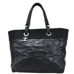 Chanel Black Coated Canvas Paris Biarritz Tote Bag