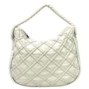 Chanel Grey Leather Hidden Chain Hobo Bag