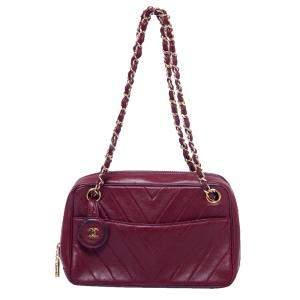 Chanel Burgundy Chevron Leather CC Camera Bag