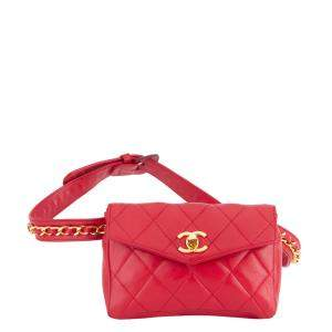 Chanel Red Quilted Leather CC Waist Bag