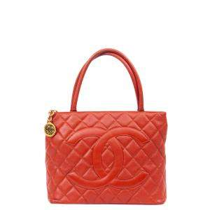 Chanel Red Leather Medallion Tote Bag