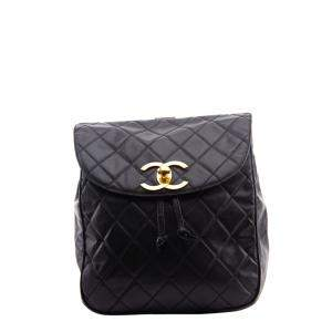 Chanel Black Leather CC Backpack