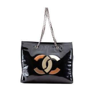 Chanel Black Patent Leather CC Tote Bag