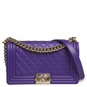 Chanel Purple Quilted Leather Medium Boy Bag